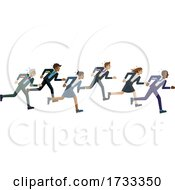 Poster, Art Print Of Business People Running Race Competition Concept