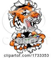 Tiger Gamer Video Game Controller Cartoon Mascot