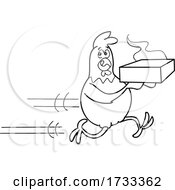 Outline Black And White Fast Running Delivery Chicken