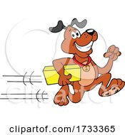 Running Delivery Dog with a Package by LaffToon #COLLC1733365-0065