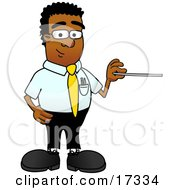 Black Businessman Mascot Cartoon Character Holding A Pointer Stick