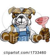 Bulldog Plumber Cartoon Mascot Holding Plunger
