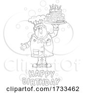 Black And White Happy Birthday Greeting And Chef Holding A Cake
