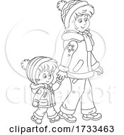 Poster, Art Print Of Black And White Happy Mother And Daughter Holding Hands And Taking A Winter Stroll