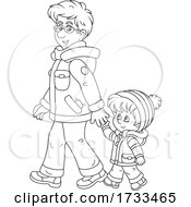 Poster, Art Print Of Black And White Happy Father And Son Holding Hands And Taking A Winter Walk