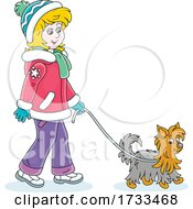 Happy Woman Dressed For The Winter And Walking A Yorkie Dog