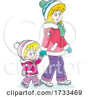 Happy Mother And Daughter Holding Hands And Taking A Winter Walk