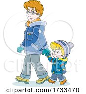Poster, Art Print Of Happy Father And Son Holding Hands And Taking A Winter Stroll