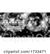 Silver Happy New Year Banner With Bokeh Lights Design