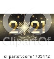 Happy New Year Banner With Glittery Snowflake Design
