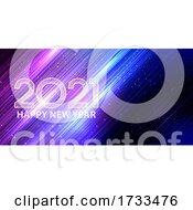 Neon Style Happy New Year Banner Design