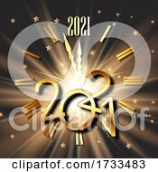 Happy New Year Background With Clock Face And Metallic Numbers