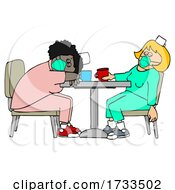Cartoon Exhausted Covid Nurses Napping On A Break At The Hospital