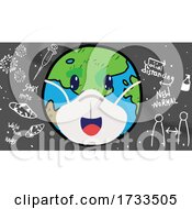 Cartoon Covid Earth Wearing A Mask Over Coronavirus Icons