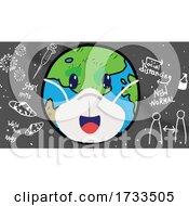 Cartoon Covid Earth Wearing a Mask over Coronavirus Icons by mayawizard101 #COLLC1733505-0158