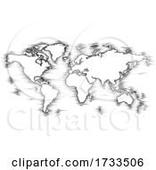 World Map Drawing Old Woodcut Engraved Style