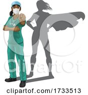 Nurse Doctor Woman Super Hero Shadow Pointing