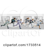 Business People Running Race Competition Concept