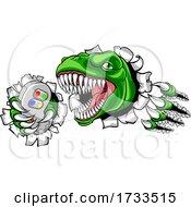 Dinosaur Gamer Video Game Controller Mascot
