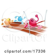 Pink Bean Character Racing On A Track And Crossing The Finish Line Before Orange And Blue Runners Symbolizing Achievement Clipart Illustration