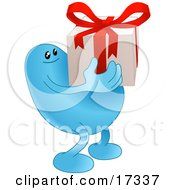 Blue Bean Character Carrying A Nicely Wrapped Christmas Or Birthday Gift With A Red Bow And Ribbon
