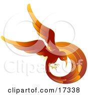 Flaming Red And Orange Phoenix Fire Bird Flying In A Circle Symbolizing Rebirth Clipart Illustration