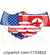 North Korean And American Flag Hands Shaking