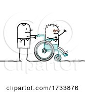 Handicap Stick Man Being Pushed In A Wheelchair