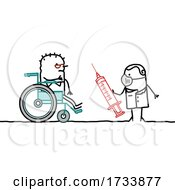 Senior Handicap Stick Man Getting A Vaccine
