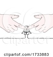 Hand Covering A Stick Business Mans Eyes