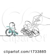 Hand Scribbling And Blocking A Disabled Stick Man In A Wheelchair