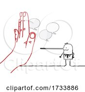 Hand Blocking A Lying Stick Business Man