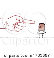 Hand Pointing At A Black Stick Man
