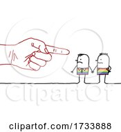 Hand Pointing At A Gay Stick Couple