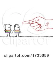 Hand Pointing At A Lesbian Stick Couple