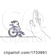 Hand Blocking A Disabled Stick Woman In A Wheelchair