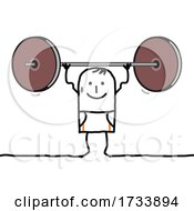 Stick Man Lifting A Heavy Barbell