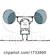 Stick Woman Lifting A Heavy Barbell
