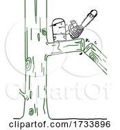 Poster, Art Print Of Stick Man Arborist Cutting A Tree Branch