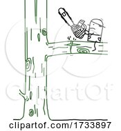 Poster, Art Print Of Stick Man Arborist Cutting The Wrong Side Of A Tree Branch
