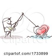 Stick Man Fishing A Love Heart Out Of Water