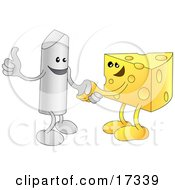 Chalk Character Giving The Thumbs Up And Shaking Hands With A Wedge Of Swiss Cheese While Agreeing On A Business Deal