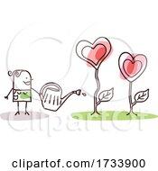 Stick Woman Watering Heart Plants