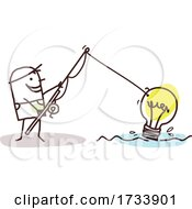 Stick Man Fishing A Light Bulb Out Of Water