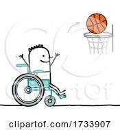 Handicap Stick Man Playing Basketball In A Wheelchair