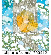 Poster, Art Print Of Squirrel In A Tree Hollow