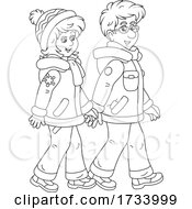 Black And White Couple Taking A Winter Walk