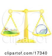 Golden Scale Balanced With Coins And Cash On The Left Side And A Clock On The Right Side Symbolizing That Time Is Money Clipart Illustration by AtStockIllustration