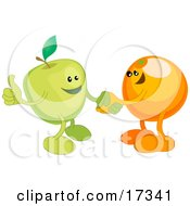 Green Apple Shaking Hands With An Orange While Agreeing On A Business Deal Clipart Illustration