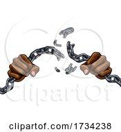 Hands Breaking Chain Links Freedom Design